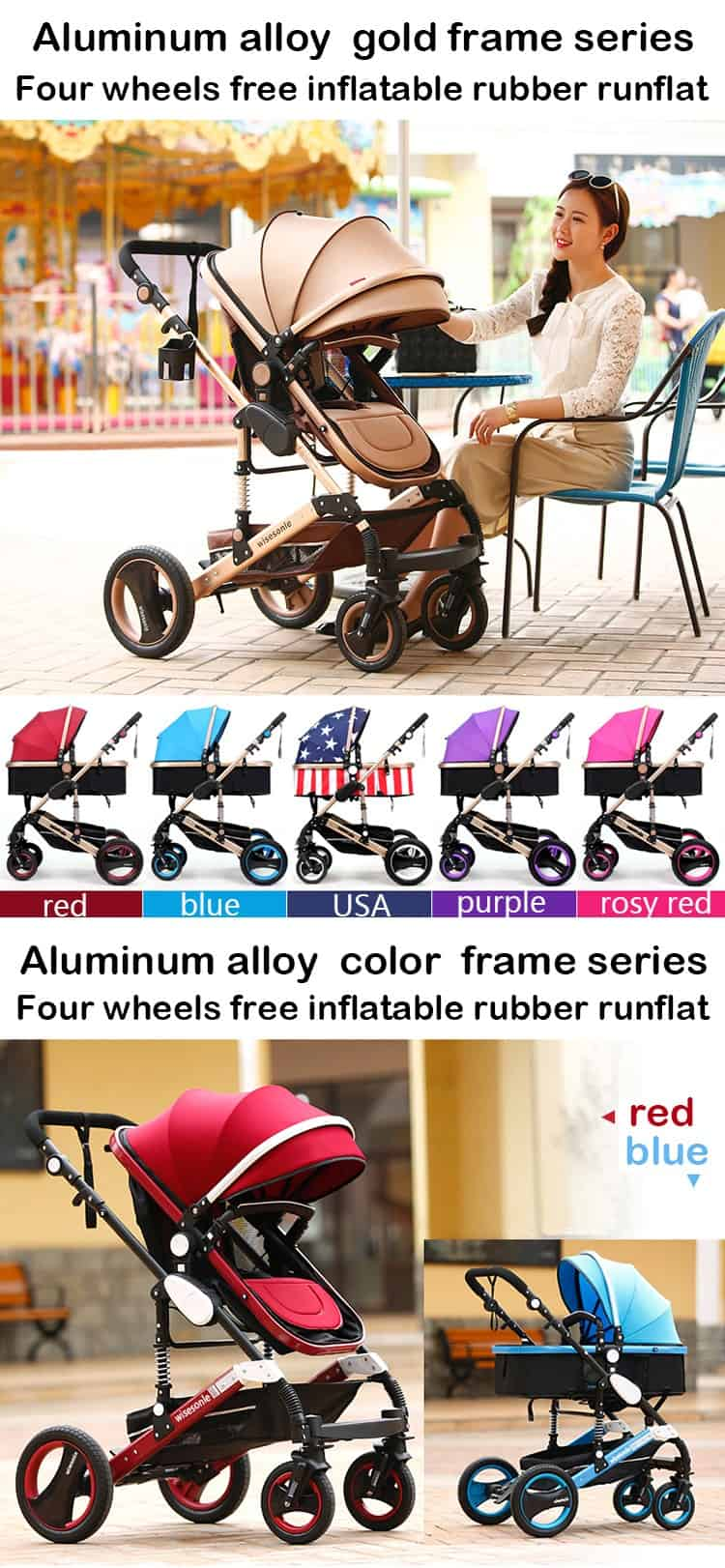 Wisesonle baby stroller 2 in 1 stroller