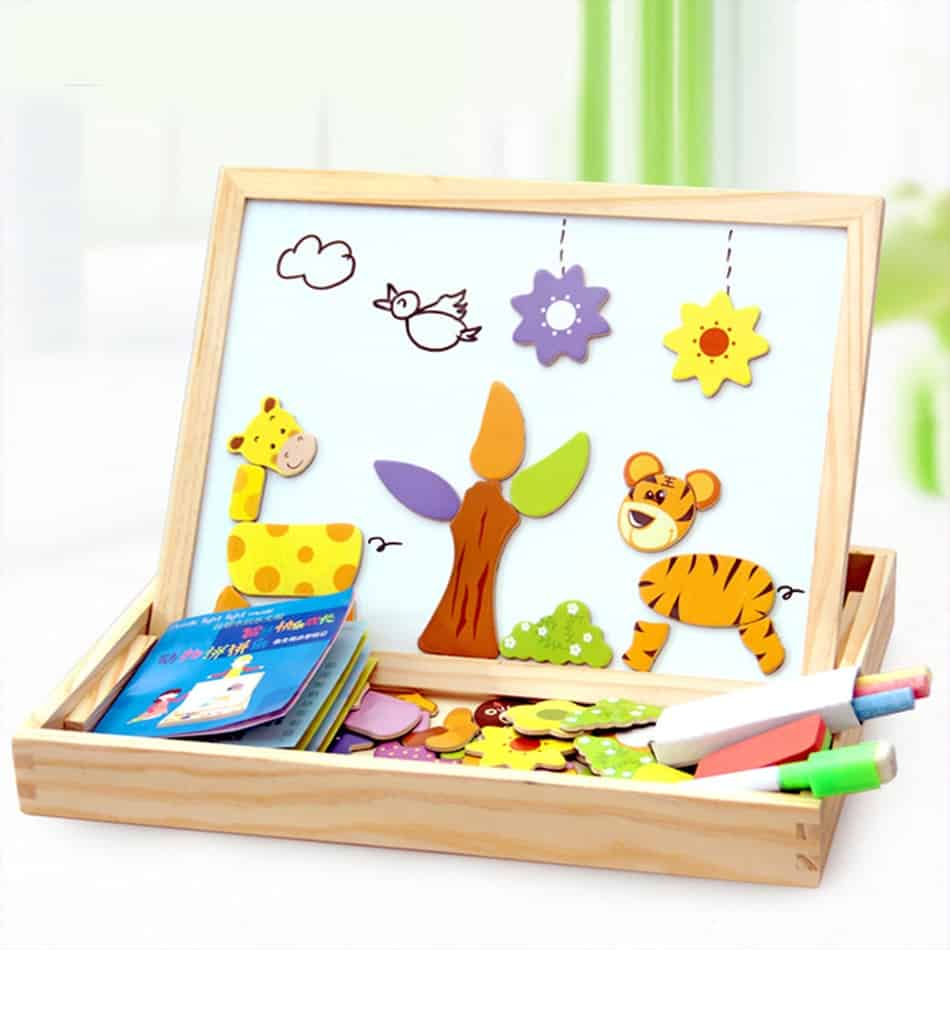 100+Pcs Wooden Magnetic Puzzle Toys Children