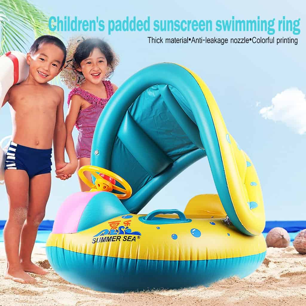 Kids Baby Swimming Rings Safe Inflatable Infant Yacht Swim Pool Toy Baby Adjustable Sunshade Child Toddler Seat Float Boat #TX4