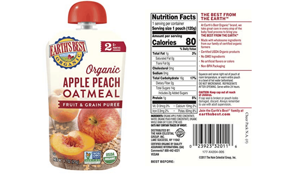 Earth's Best Organic Stage 2 Fruit and Grain Puree
