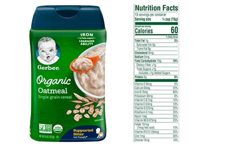 Gerber Single Grain Organic Oatmeal Cereal